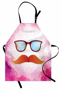 Turuncu Bıyık Desenli Mutfak Önlüğü Gözlük Pembe
