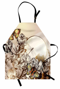 Kelebek ve Yusufçuk Mutfak Önlüğü Çiçek Dekoratif