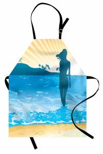 Denizde Kadının Silüeti Mutfak Önlüğü Mavi Sarı