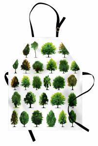 Orman Ağaçları Desenli Mutfak Önlüğü Yeşil Dekoratif