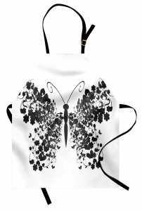 Kelebek Desenli Mutfak Önlüğü Siyah Beyaz Gri Şık