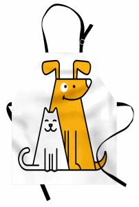 Sevimli Kedi ve Köpek Mutfak Önlüğü Sarı Beyaz Şık