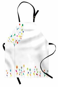Dekoratif Çiçek ve Ağaç Mutfak Önlüğü Rengarenk