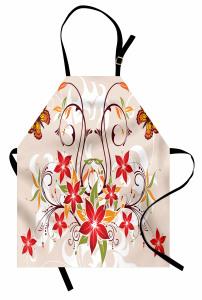 Kelebekli Çiçekli Desen Mutfak Önlüğü Dekoratif Şık