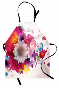 Çiçek Cümbüşü Desenli Mutfak Önlüğü Kelebek Şık