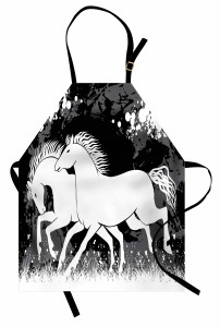 Dört Nala Koşan Atlar Mutfak Önlüğü Beyaz ve Siyah