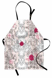 Siyah Beyaz Çiçekli Mutfak Önlüğü Pembe Gül Dekoratif