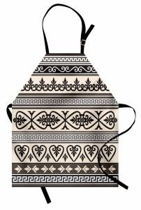 Antik Çiçek Motifli Mutfak Önlüğü Dekoratif Siyah