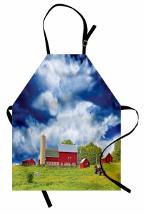 Amerikan Çiftliği Mutfak Önlüğü Bulutlu Gökyüzü Ağaç