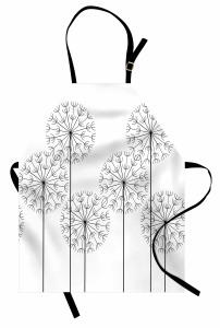 Karahindiba Desenli Mutfak Önlüğü Siyah Beyaz Çeyizlik