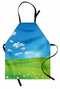 Sarı Papatyalar ve Gökyüzü Mutfak Önlüğü Yeşil Mavi