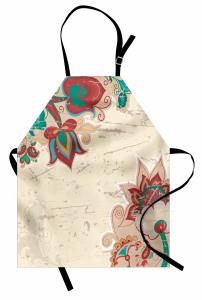 Bej Fonlu Çiçekli Mutfak Önlüğü Şık Tasarım Nostaljik