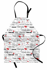 Seni Seviyorum Desenli Mutfak Önlüğü Kalpli Romantik