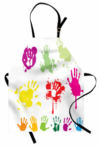 Rengarenk El İzleri Mutfak Önlüğü Sprey Boya Efektli