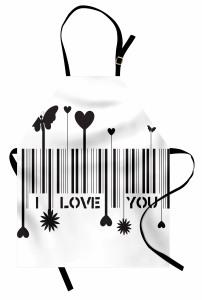 Aşk Barkodu Desenli Mutfak Önlüğü Kalp Kelebek Şık