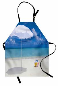 Kumsaldaki Şemsiye ve Top Mutfak Önlüğü Deniz Bulut