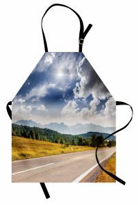 Bulutlu Gökyüzü ve Yollar Mutfak Önlüğü Orman Dağ