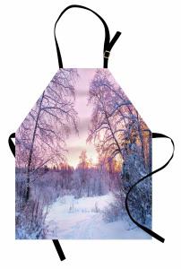 Karlı Ormanda Gün Batımı Mutfak Önlüğü Mor Gökyüzü
