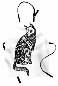 Kara Kedi Desenli Mutfak Önlüğü Siyah Beyaz Trend