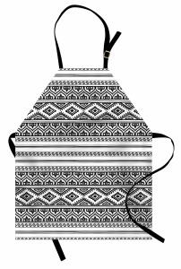 Aztek Desenli Mutfak Önlüğü Siyah Beyaz Geometrik