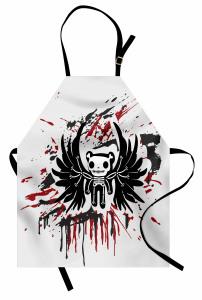 Kuru Kafa Teddy Desenli Mutfak Önlüğü Siyah Kırmızı