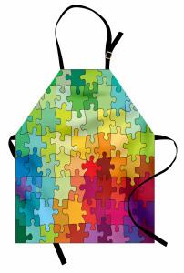 Rengarenk Puzzle Desenli Mutfak Önlüğü Dekoratif Şık