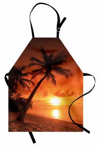 Palmiyeli Plajda Gün Batımı Mutfak Önlüğü Turuncu
