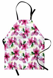 Pembe Kiraz Çiçeği Desenli Mutfak Önlüğü Çeyizlik Şık