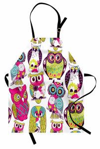 Rengarenk Baykuş Desenli Mutfak Önlüğü Yeşil Trend