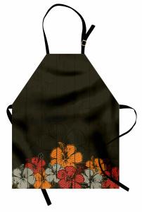 Amber Çiçeği Buketi Desenli Mutfak Önlüğü Kahverengi