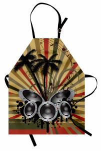 Müzik ve Palmiyeler Mutfak Önlüğü Dekoratif Şık Trend