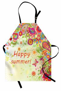 Gökkuşağı Çiçek ve Kelebek Mutfak Önlüğü Şal Desenli