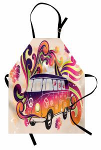 Minibüs Desenli Mutfak Önlüğü Hippi Temalı Şık Tasarım