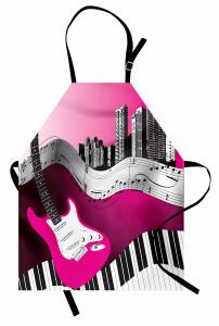 Şehrin Melodisi Desenli Mutfak Önlüğü Gitar Nota Şık