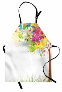 Rengarenk Ağaç Desenli Mutfak Önlüğü Kelebek Trend
