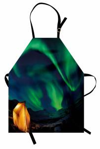 Yeşil Kuzey Işıkları Mutfak Önlüğü Gökyüzü