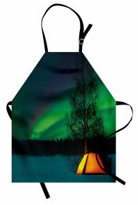 Çadırda Gökyüzüne Bakış Mutfak Önlüğü Yeşil Gökyüzü
