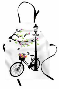 Çiçek ve Bisiklet Desenli Mutfak Önlüğü Siyah Beyaz
