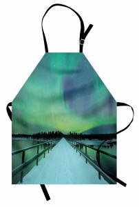 Karlı Köprü ve Gökyüzü Mutfak Önlüğü Kuzey Işıkları