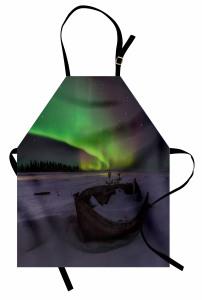 Tekne Yıldız ve Gökyüzü Mutfak Önlüğü Kuzey Işıkları
