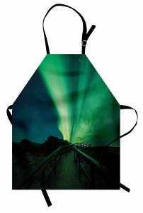 Kuzey Işıkları ve Köprü Mutfak Önlüğü Gökyüzü Yeşil