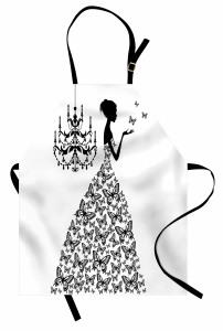 Kelebek Elbiseli Kız Desenli Mutfak Önlüğü Siyah Beyaz