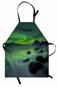 Kayalar ve Kuzey Işığı Mutfak Önlüğü Yeşil Gökyüzü