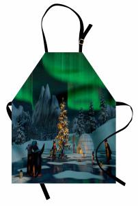 Penguen ve Kuzey Işığı Mutfak Önlüğü Gökyüzü