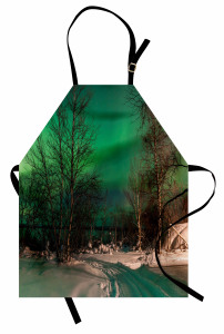 Orman ve Kuzey Işıkları Mutfak Önlüğü Yeşil Gökyüzü