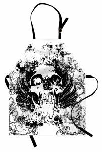 Siyah Beyaz Kuru Kafa Mutfak Önlüğü Çiçekli Nostaljik