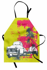 Nostaljik Araba Palmiye Mutfak Önlüğü Dekoratif