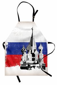 Kremlin Sarayı Desenli Mutfak Önlüğü Rusya Bayrağı