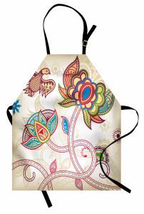 Dekoratif Çiçek ve Kuş Mutfak Önlüğü Şal Desenli