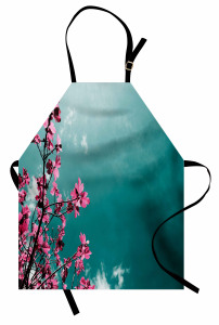 Pembe Çiçek ve Gökyüzü Mutfak Önlüğü Dekoratif Şık
